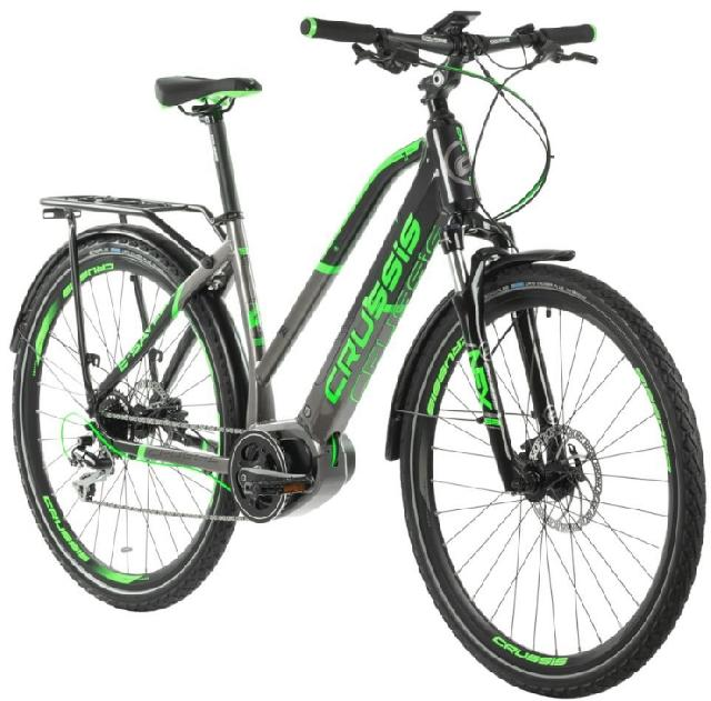 Crussis e-Savela 7.5-S barva ŠEDÁ ZELENÁ 2020 kola 28 baterie 17,5 Ah