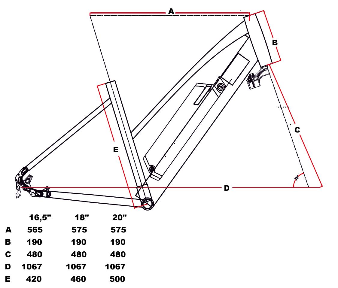 velikost rámu - geometrie Leader Fox VENOSA barva ČERNÁ MAT FIALOVÁ