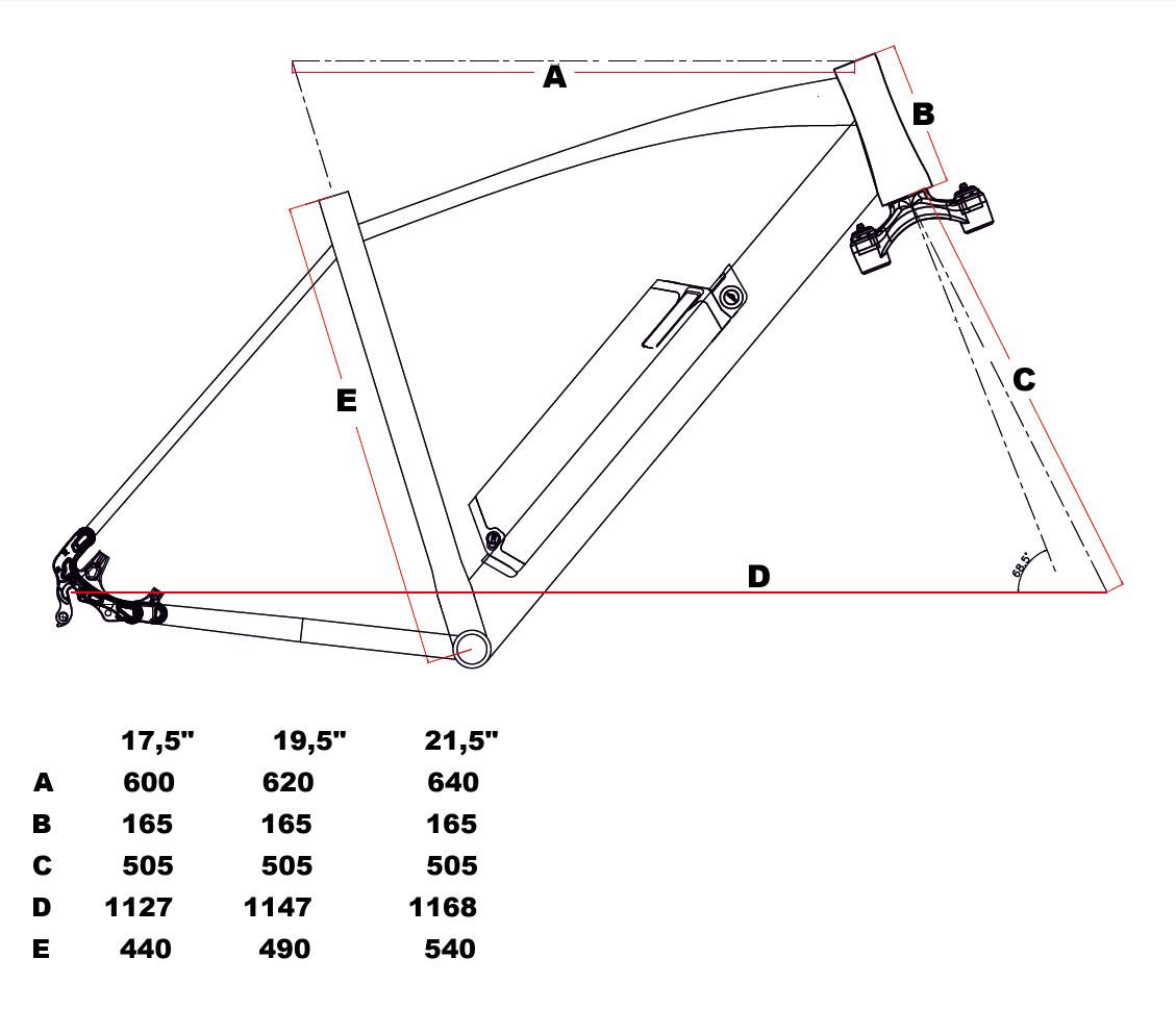 velikost rámu - geometrie Leader Fox ARIMO barva ČERNÁ MAT MODRÁ