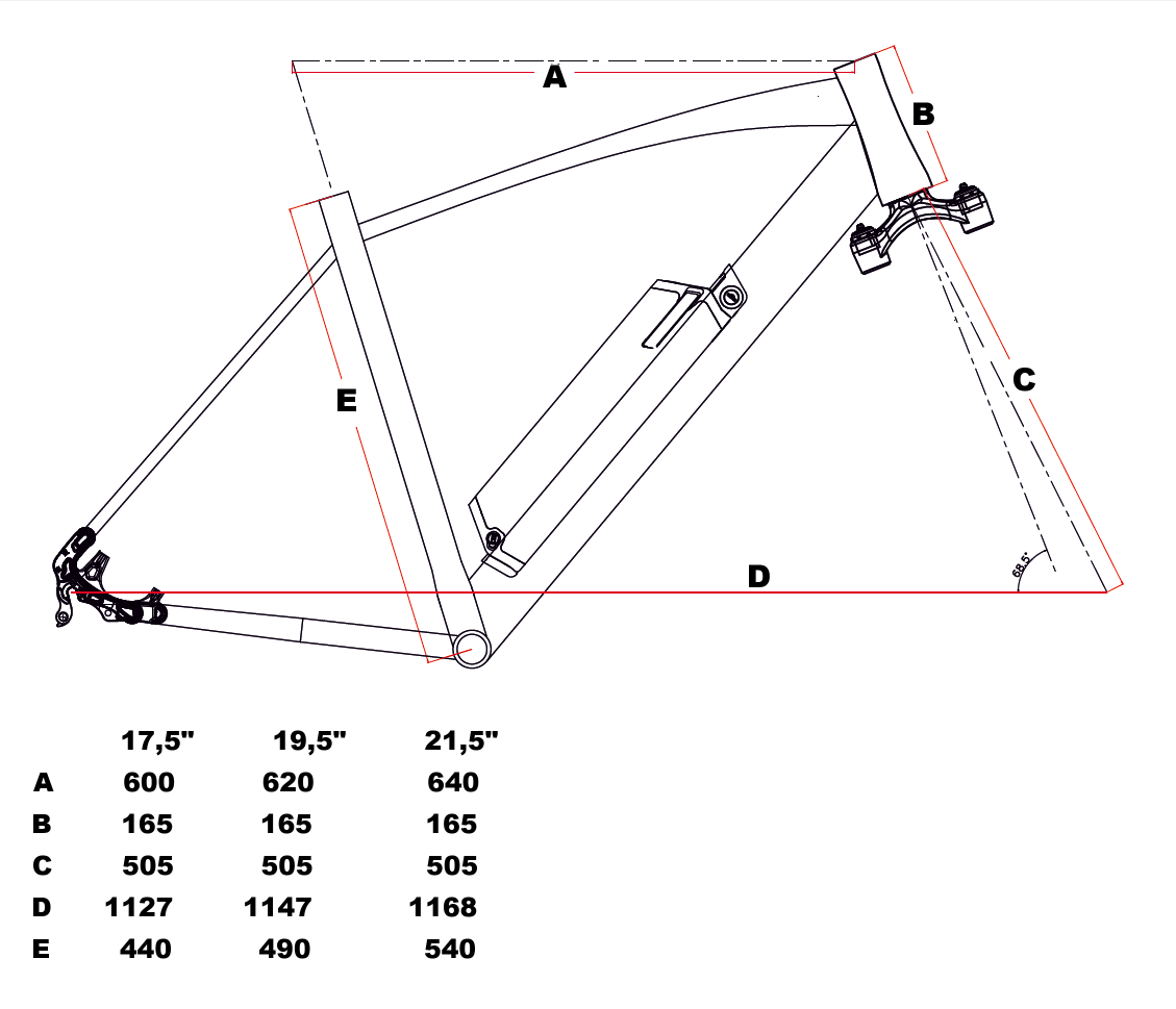 velikost rámu - geometrie LEADER FOX ARIMO barva ČERNÁ ZELENÁ MAT